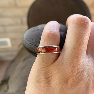 Zuni Sterling Silver Red Opal Stacker Ring
